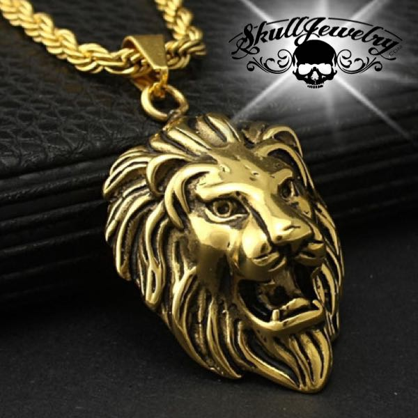 Gold-Tone 'King Leonidas' the Lion - Big, Bold & Heavy Pendant