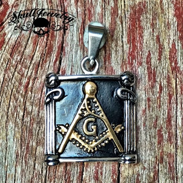 Stainless Steel Gold Freemason Masonic Pendant