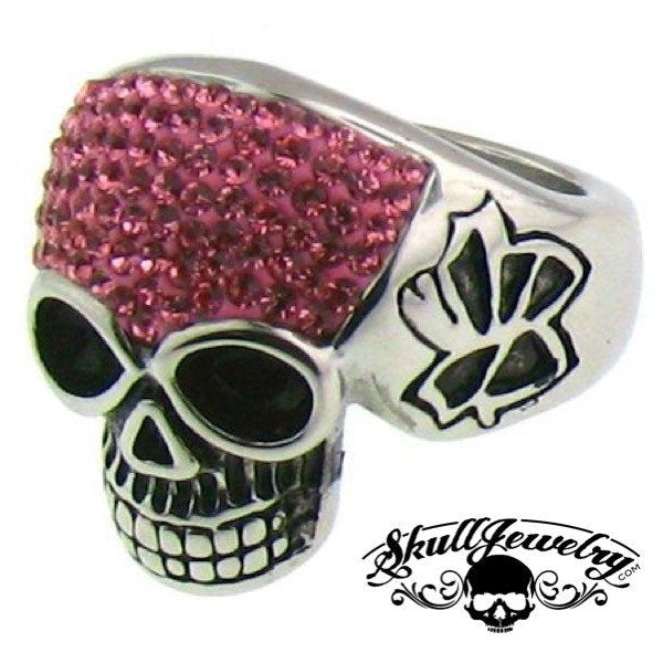 Stainless Steel Crystal Skull with Multi PINK Cubic Zirconia Ring
