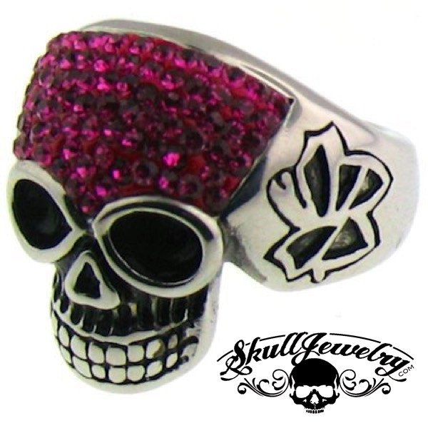 Stainless Steel Crystal Skull with Multi PURPLE Cubic Zirconia Ring