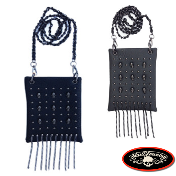 Black or Gray Mini Skull Fringe Bag (purse002)
