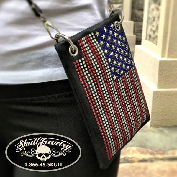 Studded American Flag Messenger Bag