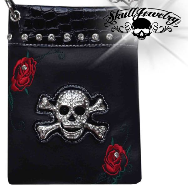 'Red Rose' Skull/Crossbones Messenger Bag