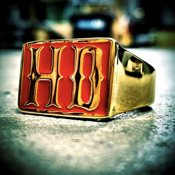 red and gold HD biker ring
