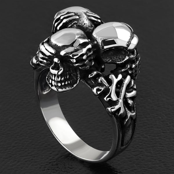 'See, Hear, Speak No Evil' Skull Ring