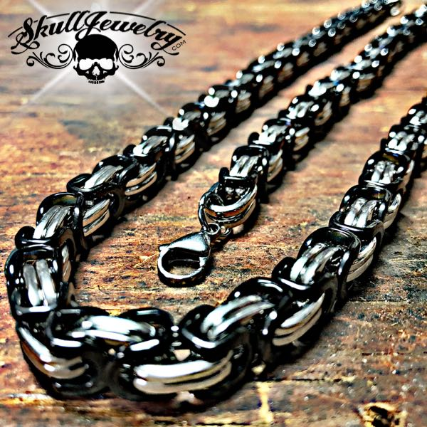 Black & Stainless Steel Necklace & Bracelet Combo