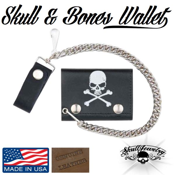 skull and bones genuine leather made in america sign