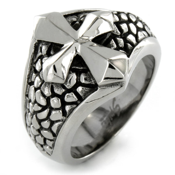 Stainless Steel Ring With Smooth Cross Over a Band of Steel Leather (396)