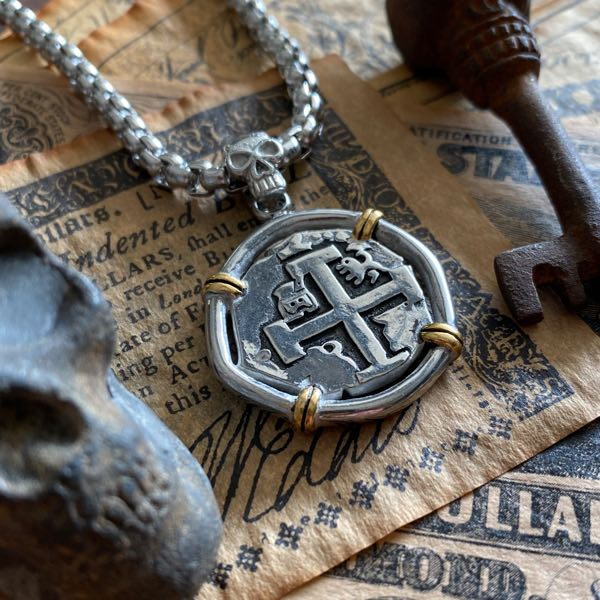 spanish reales coin pendant