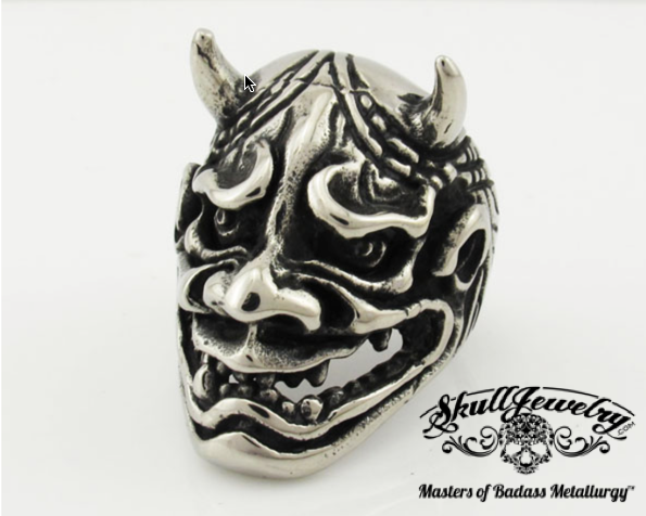 Big, Bold, Heavy 'Speed Demon' Skull Ring with Horns