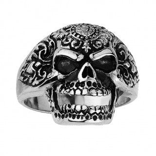 Ornate Open Mouth Skull Ring (158)
