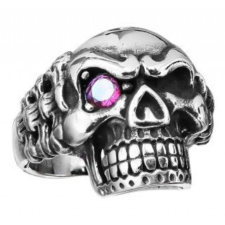 Stainless Steel Skull Ring with Bones on the Sides and Red Eye (190)