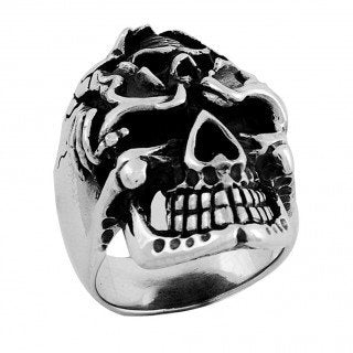 Stainless Steel Skull Ring with Skull on forehead (044)