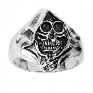 Stainless Steel Skull Ring With Grim Reaper