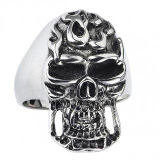 Stainless Steel Skull Ring Long Face With Flames on Forehead