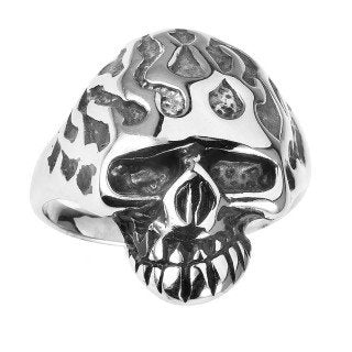 Ghost Rider Flaming Head Skull Ring (054)