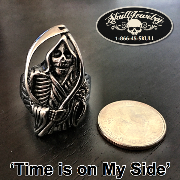 'Time Is On My Side' Large Grim Reaper Ring