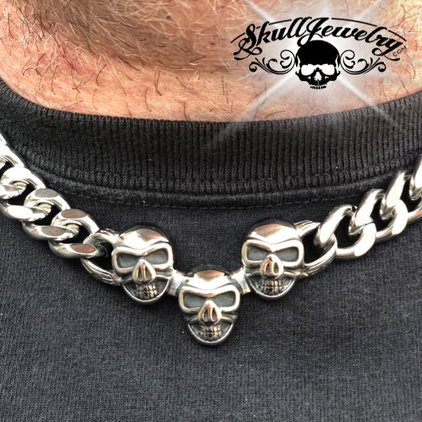 'Triple the Trouble' Big, Bold & Heavy Chain w/ Skulls