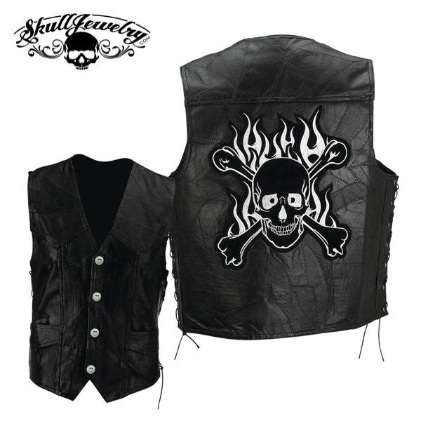 Genuine Buffalo Leather Motorcycle Vest w/Flaming Skull & Crossbones