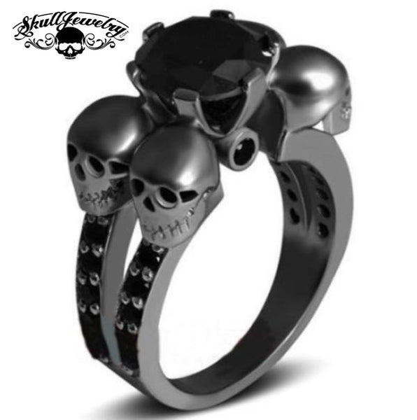 'Rotonde Teschi Neri' Four Skulls 10KT Black Gold Filled Black Sapphire Wedding/Engagement Ring