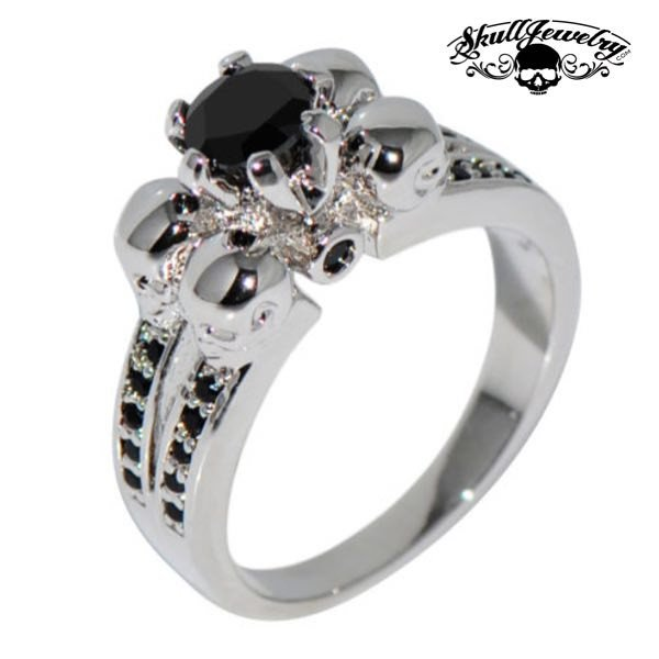 'Quattro Teschi' Four Skulls 10KT White Gold Filled Black Sapphire Wedding/Engagement Ring