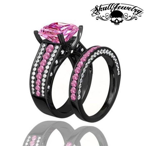 'Principessa Rosa' Pink Sapphire Inspired 10KT Black Gold Filled Engagement/Wedding Ring (w011)