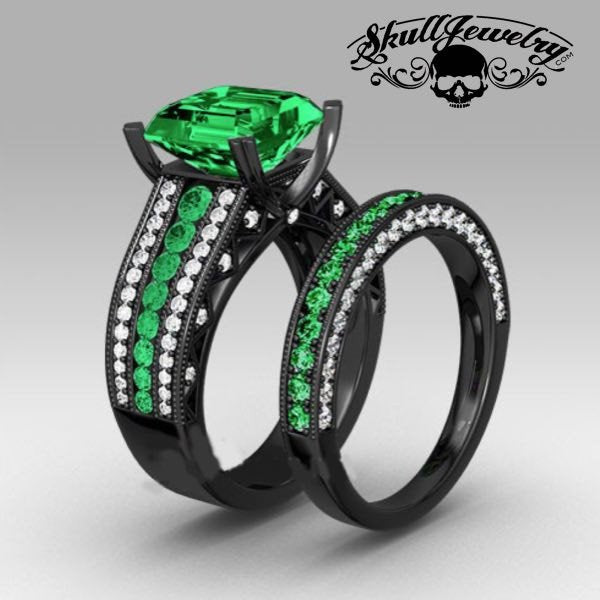 Principessa Verde' Green Austrian Crystal 10KT Black Gold Filled Engagement/Wedding Ring