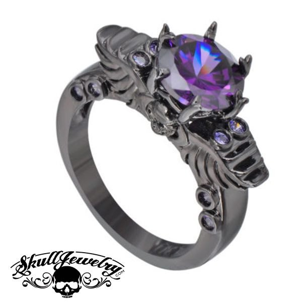 'Viola Principessa' Winged Skull 14K Black Gold & Purple Amethyst Ring