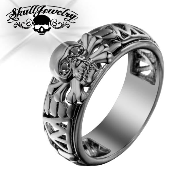 'Beyond The Black Diamond Gates' Skull Ring