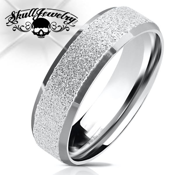 Stainless Tone Sandblasted Wedding Band