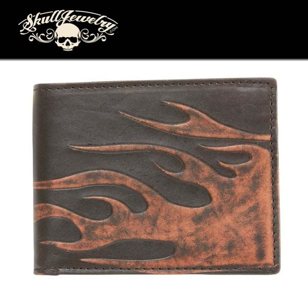 FLAME Solid Genuine Leather Biker Wallet