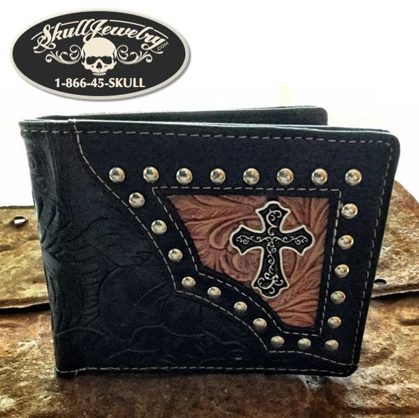 Black Cross Leather Wallet