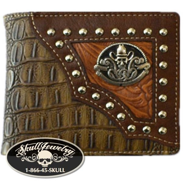 Crocodile Brown Cowboy Wallet