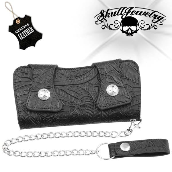 Genuine Leather Tooled Double Snap Biker/Trucker Wallet