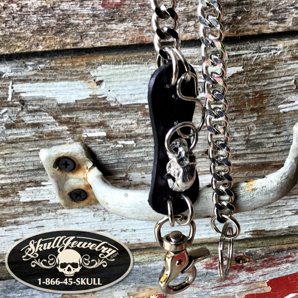Leather/Stainless Steel Skull Wallet Chain