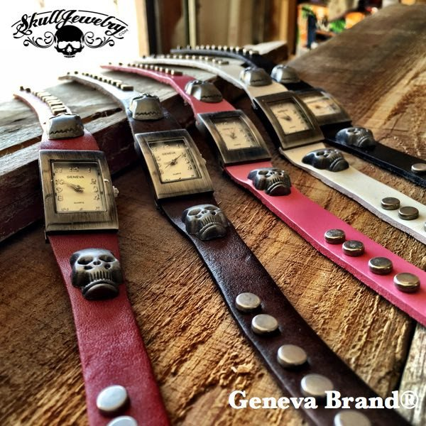 Geneva Brand® Double Wrap, Extra-Long Skull Watch (5 Colors To Choose From)