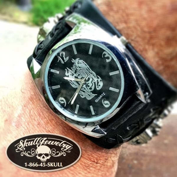 'Goodbye Earl' Skull Leather Watch
