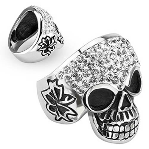 Crystal Skull with Multi Clear Cubic Zirconia Ring