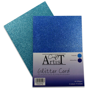 Blue Shades Glitter Card Pack