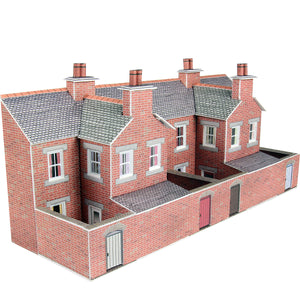Low Relief Red Brick Terraced House Backs N Gauge Card Kit