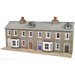 Low Relief Stone Terraced House Fronts N Gauge Card Kit