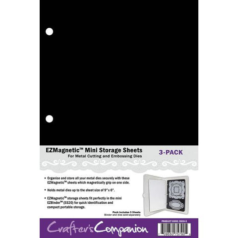 Crafters Companion EZMagnetic Diecut Mini Storage Panels-Pack of 3, Magnetic, White, 25.3 x 16.7 x 0.4 cm