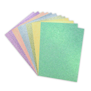 A4 Double-Sided Rainbow Pastel Glitter Card