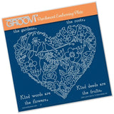 Garden Heart A5 Square Groovi Parchment Embossing Plate