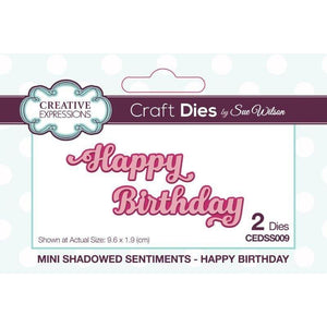 Happy Birthday Mini Shadowed Sentiments Craft Die Set-CEDSS009-Creative Expressions