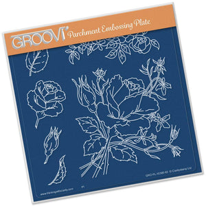 Roses A5 Square Groovi Parchment Embossing Plate-GRO-FL-40395-03-Claritystamp
