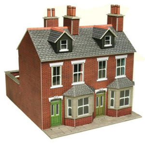 Terraced Houses In Red Brick OO Gauge Card Kit-PO261-Metcalfe