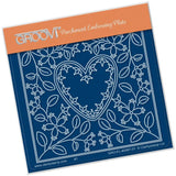 Tina's Heart Flower Parchlet A6 Groovi Parchment Embossing Plate