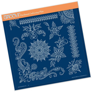TIna's Henna Corners #2 A4 Square Groovi Parchment Embossing Plate-GRO-PA-40663-15-Claritystamp