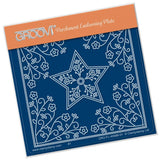 Tina's Star Flower A6 Square Groovi Parchment Embossing Plate